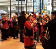 End of Day 2, the Gitxaala drum and sing for their lawyer in the lobby of the Federal Court of Appeal building, Vancouver, BC / Coast Salish territory – Oct 2, 2015