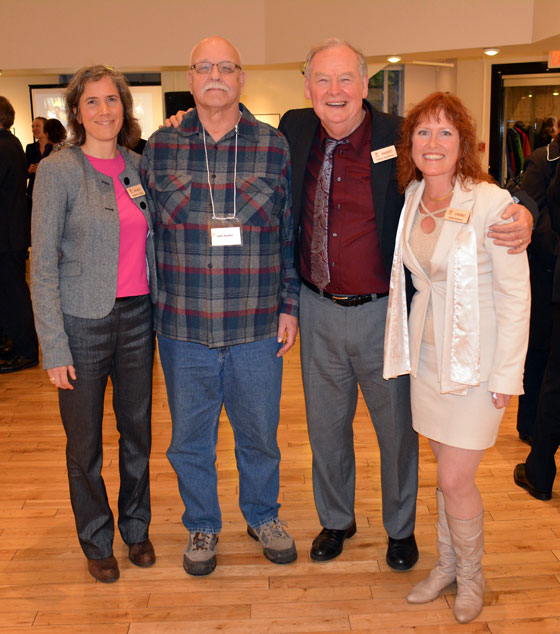 (L-R) Deborah Curran (ELC Acting Executive Director), John Snyder (Comox CoalWatch) Holly Pattison (ELC Paralegal Administrator) and Calvin Sandborn (ELC Legal Director) (Photo courtesy of UVic Law)